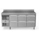 Rustfri køledisk med topplade og bagkant, 3x2 skuffer, 440L
