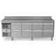 Rustfri køledisk med topplade og bagkant, 4x2 skuffer, 590L