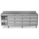 Rustfri køledisk med topplade og bagkant, 4x3 skuffer, 590L