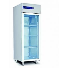 Rustfrit køleskab 605L, glasdør