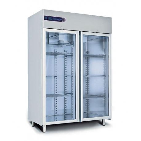 Rustfrit dobbelt køleskab 1355L, glasdør