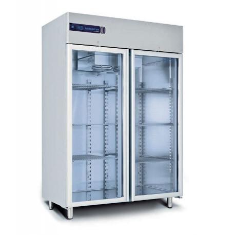 Rustfrit dobbelt fryseskab 1355L, glasdør