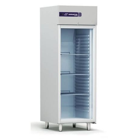 Rustfrit køleskab 554L, glasdør