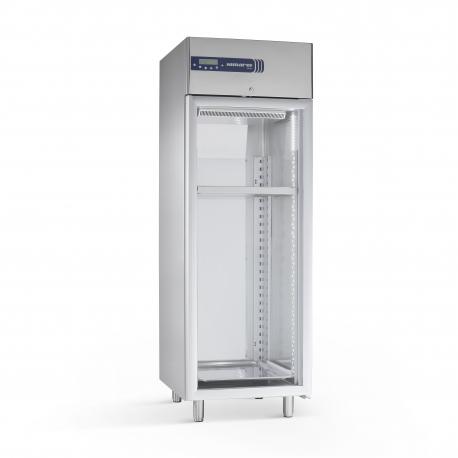 Rustfrit modningskøleskab 605L, glasdør
