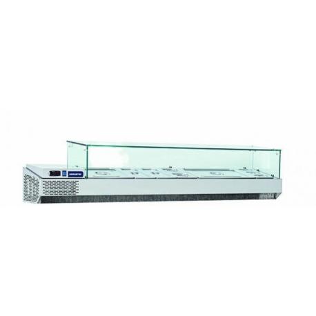 Rustfri kølevetrine med glasopsats til GN kantiner, 50L